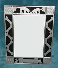 NEW! ADORABLE SILVER & BLACK DOG BONE PICTURE/PHOTO FRAME!! CAN PERSONALIZE!