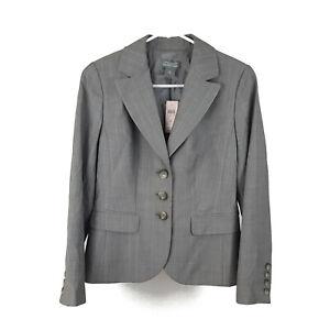 NEW - Ann Taylor Petite 4P Button Blazer Suit Jacket Striped Gray Italian Wool