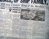 Gangster JASMES BELCASTRO King of the Bombers CONVICTED 1933 Chicago Newspaper