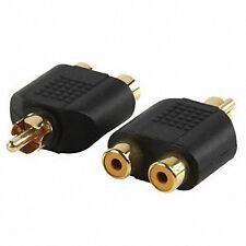 Phono RCA  Plug to Dual Twin 2 Phono RCA  Sockets Adaptor Pack Of 2