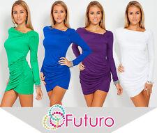 Trendy Women's Mini Dress Long Sleeve Asymmetric Neck Tunic Sizes 8-18 6053