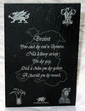 "Welsh ""BRAINT"" design crafted WELSH SLATE PLAQUE, Shelf-sitter, Cymru, Wales"