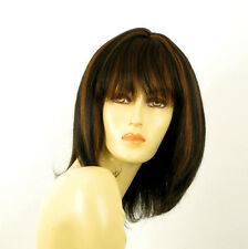 perruque femme 100% cheveux naturel mi-long méchée noir/cuivré ISA 1b30