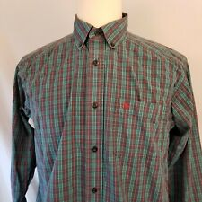 Ariat Pro Series Mens Shirt Size Large Button Front Blue Plaid Western Collared