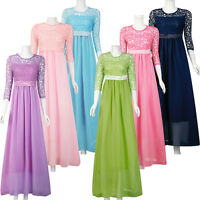 Women Formal Long Lace Dress Prom Evening Party Cocktail Bridesmaid Wedding New