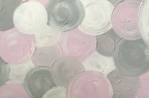 MODERN ORIGINAL ABSTRACT CANVAS PAINTING PASTEL PINK GREY WHITE DEES FUNKY ART