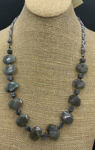 Barse Labradorite & Leather Necklace- Sterling Silver- NWT