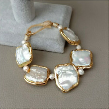 "Fashion 8"" White Square Keshi Pearl Gold plated Bracelet Unique Style Jewelery"