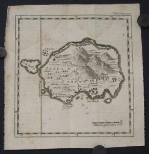 SÃO THOMÉ ISLAND 1725 ANONYMOUS UNUSUAL ANTIQUE ORIGINAL COPPER ENGRAVED MAP