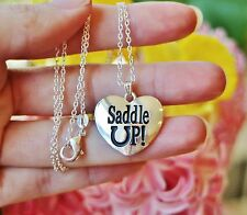 Horse NECKLACE Pony Lover Saddle Up Pendant Horseshoe .925 Sterling Silver Chain