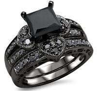 2.27ct Black Princess Cut CZ Heart Engagement Ring Wedding Set