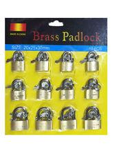 12pc 20mm 25mm 30mm Brass Padlock 2 Keys Security Heavy Duty Garage GateSuitcase