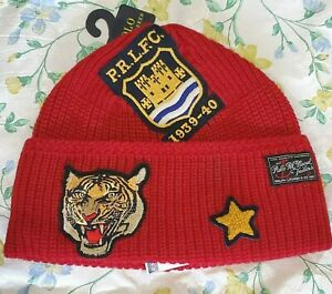 Polo Ralph Lauren Men Tiger Patch Naval Tailors Knit Beanie Red Hat One Size
