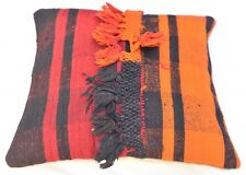 Orange Black and Red Stripped Turkish Pillowcase  Boho Cushion Cover 16''x16''