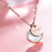 18K ROSE GOLD PLATED STAINLESS STEEL ROUND SHELL LUCKY PENDANT NECKLACE