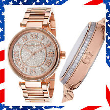 100% New Authentic Michael Kors Skylar Crystals Dial Lady Rose Gold Watch MK5868