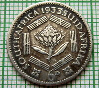 SOUTH AFRICA SUID AFRIKA GEORGE V 1933 6 PENCE, SILVER