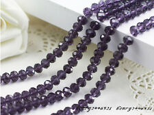 diy 100 (±3) PCS , 4 X 6 mm Purple Crystal Faceted Gemstone Abacus Loose Beads