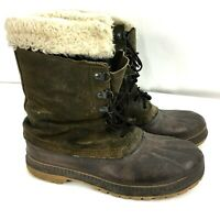 Sorel Mens Boots Size 10 Leather Brown Lace UP Canada-Made Steel Shank