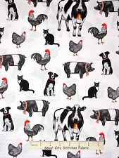 Farm Animal Fabric - Cow Pig Rooster Dog Cat Robert Kaufman #14823 White - Yard