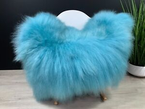 Turquoise Icelandic Sheepskin Rug Pelt / Genuine Sheepskin Seat Cover Throw Rug