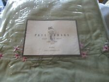 """Pottery Barn Sophia Embroidered green bedskirt bed skirt 14"""" drop King New"""