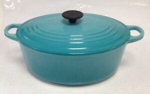 Le Creuset Cousances Turquoise Cast Iron Oval 29cm Casserole Pot With Lid