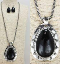 Large Antique Silver and Black Pendant FASHION Necklace Set