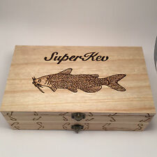 Double Fishing Float Box/Case Any Name Any Fish  Personalised With 10 Floats