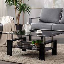 Black Modern Side Highlight Glass Top Coffee Table w/Shelf Living Room Rectangle