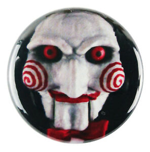"1"" (25mm) 'Saw' Jigsaw Puppet Face Horror Button Badge Pin - Custom Badge"