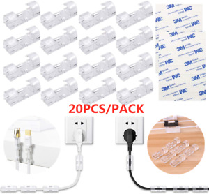 20X Self Adhesive Wire Cable Cord Clips Clamp Table Wall Tidy Holder Organizer