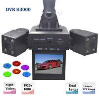 H3000 2'' Car DVR Camera Dual Lens IR Night Vision Tachograph Vehicle Camcorder