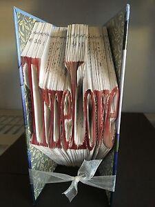 HANDMADE UNIQUE 'TRUE LOVE' BOOK FOLDED COLLECTABLE, GIFT IDEA, HOME DECOR