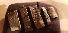 Stunning detail early Medieval bronze strap ends lot found in Britain 1970s L60u
