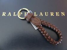 Polo RALPH LAUREN Brown Leather Braided Loop FOB Key Chain Keychain Keyring