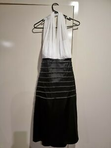 Mr K Size 16 Ladies Evening Formal Black And White Halterneck Dress ball gown