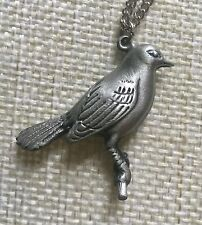 PEWTER BIRD PENDANT W/  STERLING SILVER CHAIN - NEW!