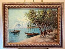"Original Italian Signed Oil- ANTONIO CANNATA-""COMO LAKE SCENE""- Framed Landscape"
