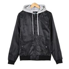 Men's Lined Hooded Bomber Jacket Coat Full Zip Fleece Outdoor Outwear Black