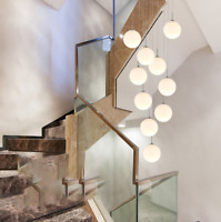 LED White Frosted Glass Stairwell Chandelier Living Room Rotating Pendan Lamp