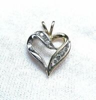 Vintage Solid White / Yellow 10k Gold & Diamond Heart Pendant (signed)