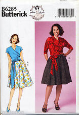 BUTTERICK SEWING PATTERN 6285 MISSES 6-14 RETRO STYLE WRAP TOP & PLEATED SKIRT