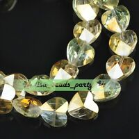 10pcs 14x9mm Faceted Heart Crystal Glass Charms Spacer Beads Citrine Colorized