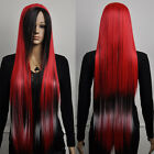 Fancy-dress cosplay long red black mix straight synthetic hair full wig