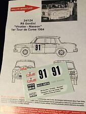 DECALS 1/24 RENAULT 8 GORDINI VINATIER RALLYE TOUR DE CORSE 1964 RALLY HASEGAWA