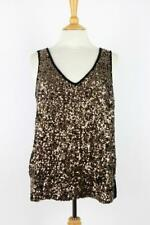 CATO Sequinned Sleeveless TOP  Black/Gold  Size  UK M/12-14     008 G