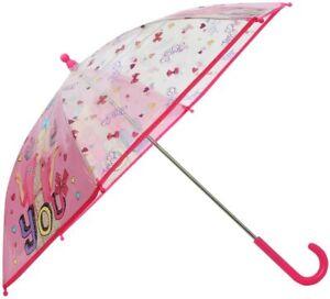 Jojo Siwa Girls Pink Character Print Transparent Panel Pvc Umbrella Multicolor