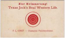 1910s Texas Jack's Real American Western Life German Pistol Target Card