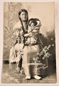 Antique Native American Indian Real Photo Postcard RPPC Shiffert 1909 Papoose